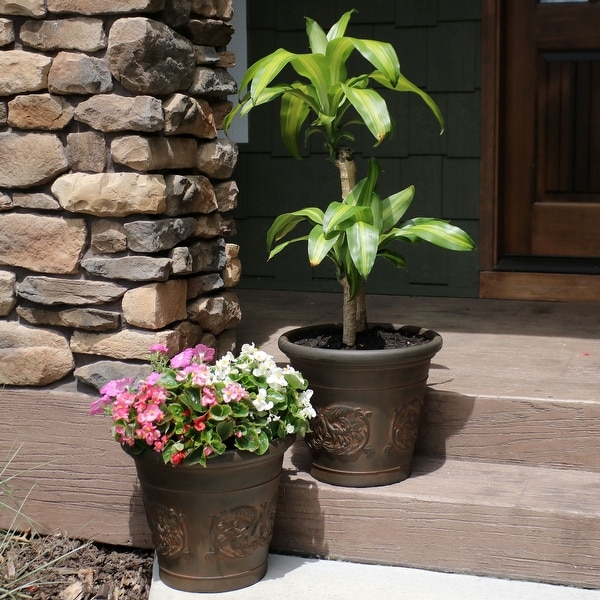 Sunnydaze Arabella Outdoor Flower Pot Planter - Rust Finish - 16-Inch - 2-Pack