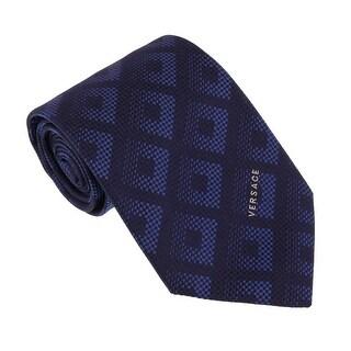 Versace Navy Blue Woven Tonal Check Tie