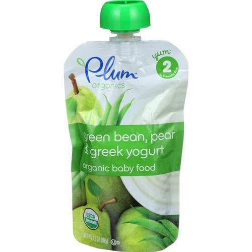 Plum Organics - Green Beans, Pears, & Yogurt Baby Food ( 6 - 3.5 OZ)