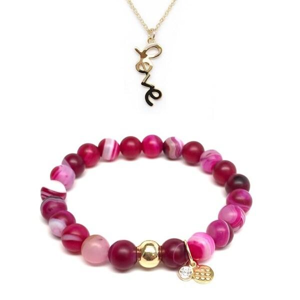 "Fuchsia Agate 7"" Bracelet & Love Gold Charm Necklace Set"