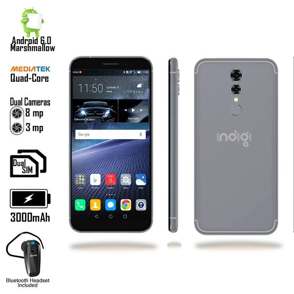 Indigi GSM Unlocked 4G LTE 5.6-inch Android 6 Smartphone (QuadCore @ 1.2GHz + Fingerprint Scanner + Bluetooth Headset) Black
