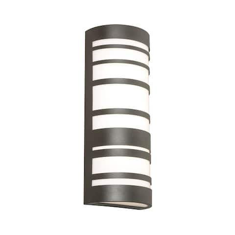 Naknek 18-inch Textured Bronze LED Outdoor Sconce with White Acrylic Shade by Havenside Home