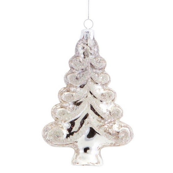 Club Pack of 12 Elegant Silver Glittered Tree Christmas Ornaments 5.5""