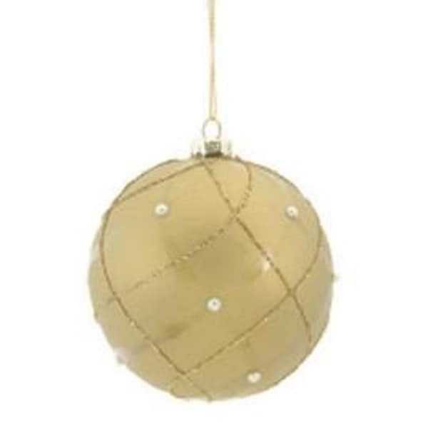 "4"" Matte Taupe Shiny & Gold Glittered Contoured Plaid Pearl Accented Glass Ball Christmas Ornament"