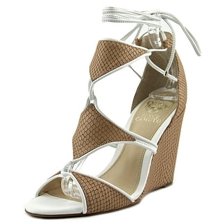 Vince Camuto Maria Women Peep-Toe Leather Ivory Heels