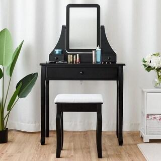 Gymax Vanity Dressing Table Set Mirror Desk Furniture Stool W/ Mirror & 3 Drawer Black