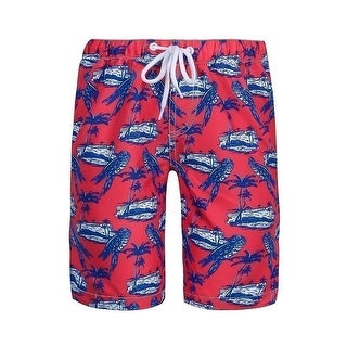 Sun Emporium Boys Navy Red White Parrot Island Print Board Shorts