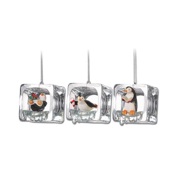 """Club Pack of 18 Icy Crystal Decorative Christmas Penguin Ice Cube Ornaments 2"""""""