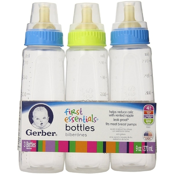 Gerber First Essentials Clear View Bottles Silicone Nipple 9 oz, Assorted Colors 3 ea