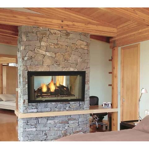 """Majestic DSR36 36"""" Wide Built-In Natural Vent See-Thru Wood Burning - Black"""