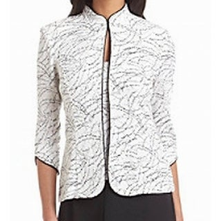 Alex Evenings Black Jacquard Vineyard Printed Jacket