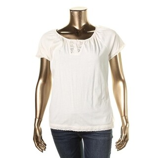 LRL Lauren Jeans Co. Womens Cotton Eyelet Pullover Top - S