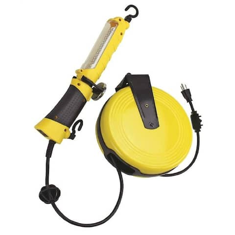 Powerzone ORCRTLLED526 LED Yellow Work Light with 30' Metal Cord Reel