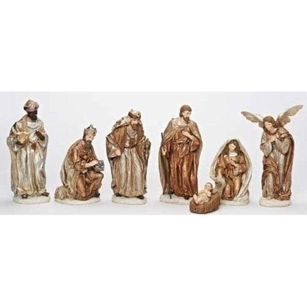 Set of 7 Subtle Colored Religious Have Faith Gold Finish Christmas Nativity Figures - multi