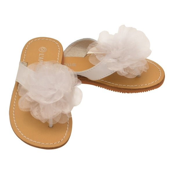 5004a8984 Shop L Amour Girls White Organza Flower Adorned Thong Sandals - Free ...
