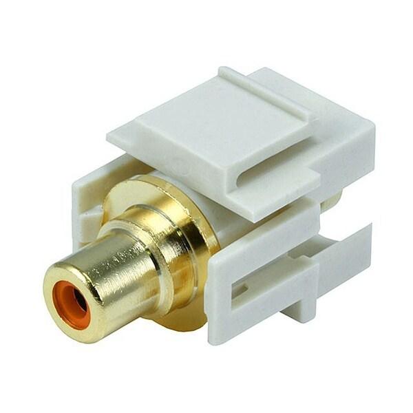 Monoprice Modular RCA Coupler Keystone Jack w/Orange Center, Flush Type - Ivory