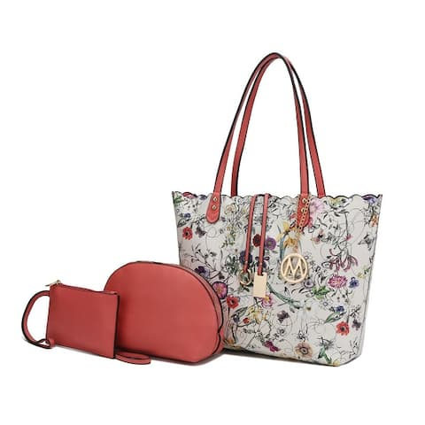 MKF Pipette 3 PC Tote Bag with Cosmetic Pouch and Wristlet by Mia K.