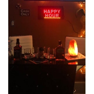 American Art Decor Happy Hour Down Arrow Framed Man Cave Marquee LED Signs
