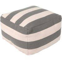 """24"""" Gray Knife-Edge Striped Pattern Woven Indoor Square Pouf Ottoman - White"""