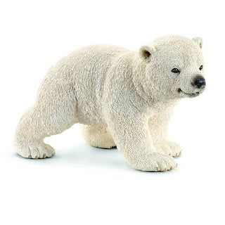 Schleich 14708 Walking Polar Bear Cub Toy for Ages 3 & Up, Plastic, White