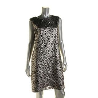 Tahari ASL Womens Lucy Metallic Sleeveless Wear to Work Dress