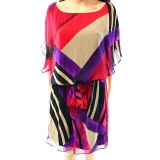 SL Fashions NEW Pink Purple Women's 10 Colorblock Printed Blouson Dress
