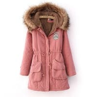 Warm Long Coat Fur Collar Slim Hooded Jacket Winter Parka Outwear