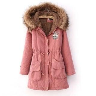 Warm Long Coat Fur Collar Slim Hooded Jacket Winter Parka Outwear