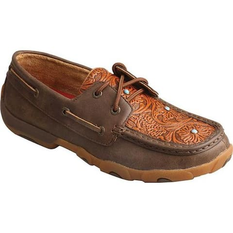 Twisted X Boots Women's WDM0092 Driving Moc Brown/Tooled Flower Leather