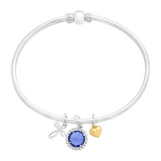 2 1/10 ct Created Ceylon Sapphire Cross Bangle Bracelet in Sterling Silver & 14K Gold - Blue