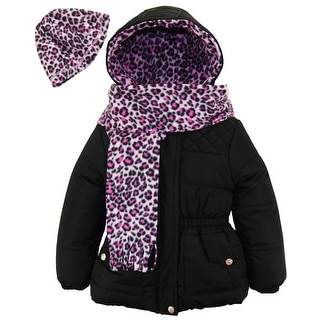 Pink Platinum Toddler Girls Quilted Jacket Puffer Cheetah Hat Scarf Winter Coat