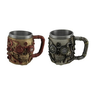 Pair of Hand Painted Metallic Finish Ste&unk Style Skull Coffee Mugs  sc 1 st  Overstock & Acrylic Dinnerware For Less | Overstock.com
