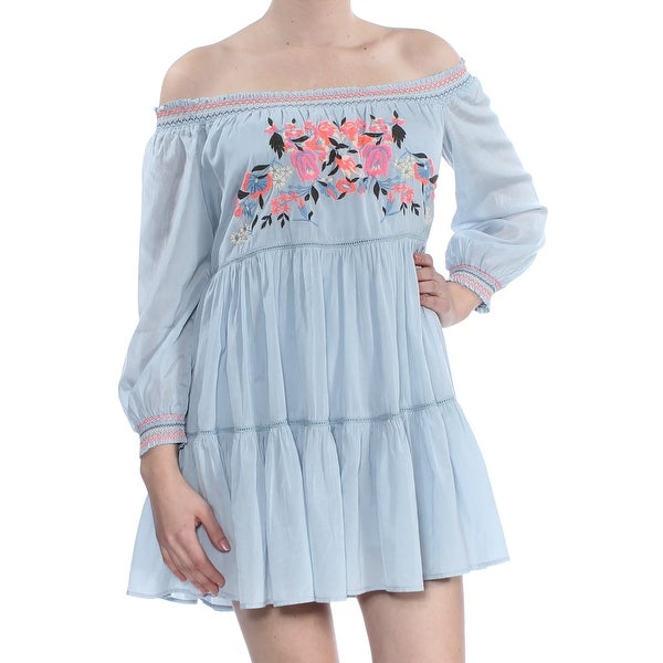 b89aabc75c Shop FREE PEOPLE Womens Light Blue Floral Embroidered Off The Shoulder Long  Sleeve Mini A-Line Dress Size: XS - Free Shipping Today - Overstock -  27914210