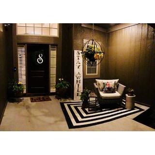 Machine Woven Aspen(Ivory/Black) 100% Natural Coir Doormat