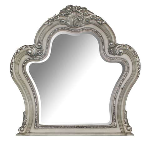 Arch Shape Wooden Frame Wall Mirror with Carved Details, Antique Silver
