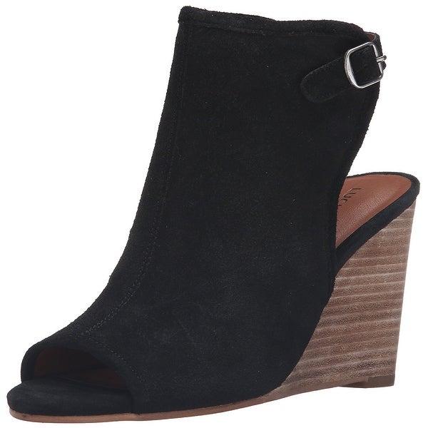 Lucky Women's Lk-Risza Wedge Sandal, Black, Size 6.0