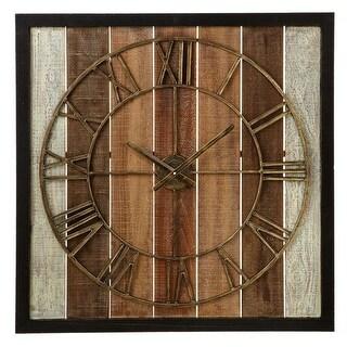 "23.5"" Basic Luxury Roman Numeral Decorative Square Framed Slat Wall Clock"