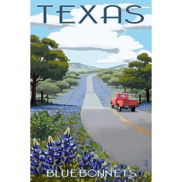 TX - Bluebonnets & Highway - LP Artwork (100% Cotton Towel Absorbent)