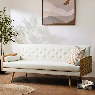 Link to Arellana Tufted Sofa with Rattan Arms Similar Items in Sofas & Couches