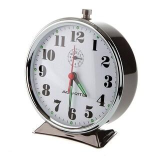 Acu-Rite 15607 Vintage Alarm Clock, Black Nickel