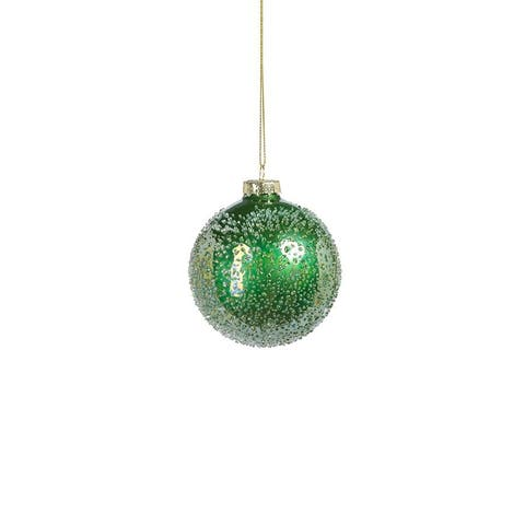 """3"""" Sugared Shiny Green Glass Ornaments, Set of 6"""