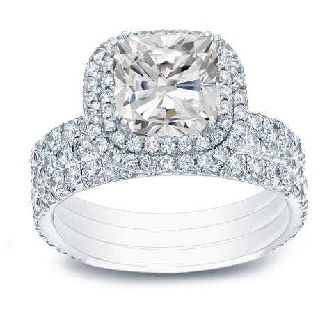 Auriya 2 1/2ctw Cushion-cut Halo Diamond Engagement Ring 3pc Set 14k Gold Certified