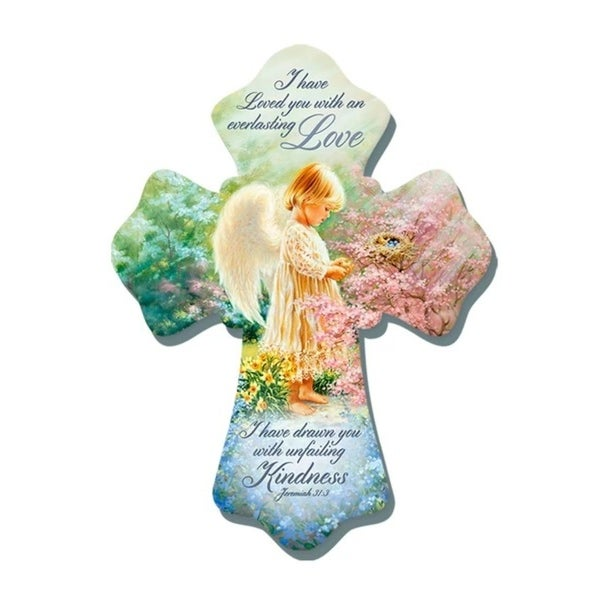 "8"" Green and Blue Everlasting Love Angel Biblical Quoted Wall Cross - N/A"
