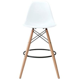 2xhome - 28-inch Eames Chair DSW White Counter Stool Bar Stool