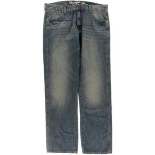 Wrangler Mens Straight Leg Jeans Denim Dirt Wash
