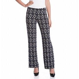 Karen Kane NEW Black Wide leg Women Large L Ikat Printed Pants Stretch