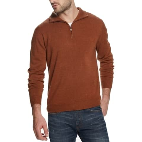 Weatherproof Mens Sweater Spice Brown Size 2XL 1/2 Zip Pullover Knit