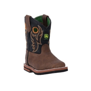 John Deere Western Boots Boys Kids Broad Toe Brown Distressed JD1025