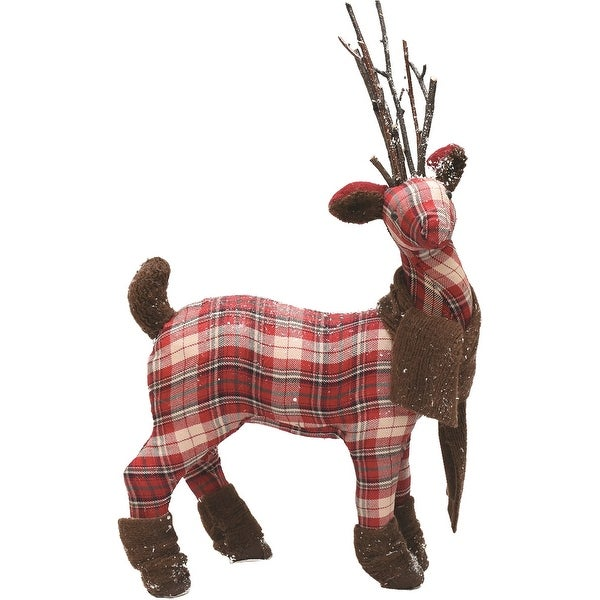 """19.5"""" Red White and Green Plaid Reindeer with Brown Scarf Table Top Christmas Figure"""
