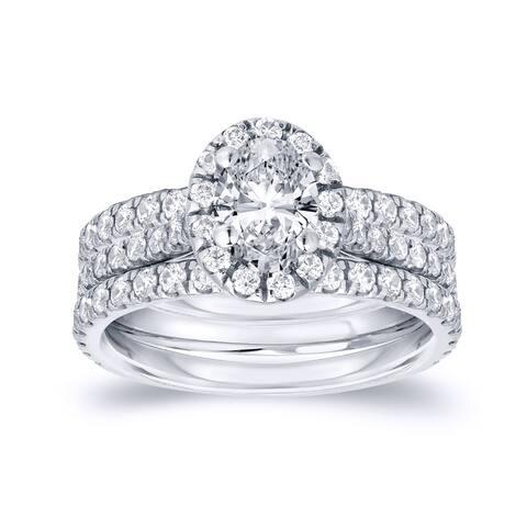 Auriya 1 1/4ctw Oval-cut Halo Diamond Engagement Ring 3pc Set 14k Gold